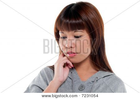 Pensive And Worried Woman