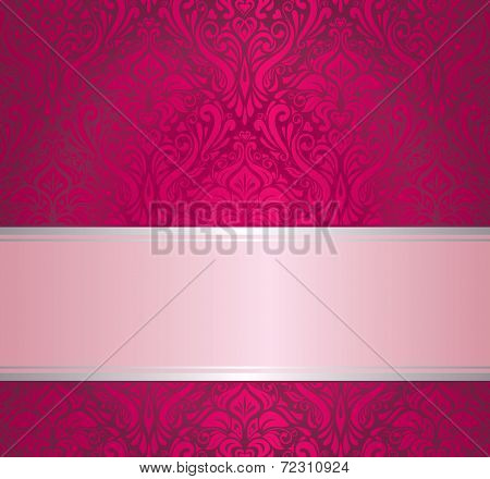 Red & silver ornamental vintage invitation design