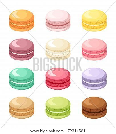 Set of colorful French macaroon cookies isolated on white. Vector illustration.