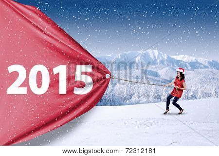 Woman Pulling Number 2015 In Winter