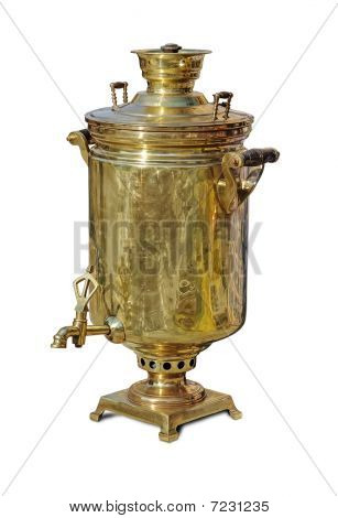 Traditional big russian boiler for tea drinking - samovar