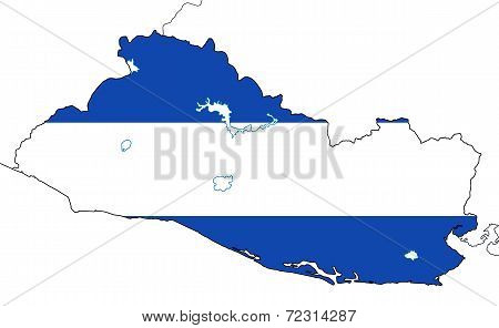 El Salvador map with national flag isolated on white background