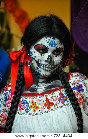 Puebla, Mexico - October 31St, 2013 : Woman Disguised For Dia De Los Muertos