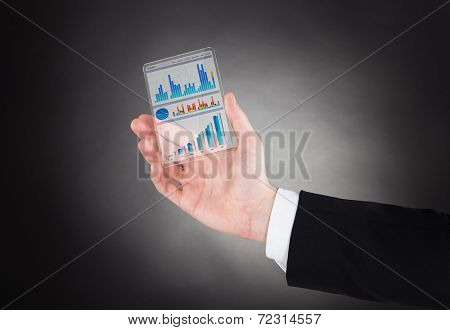 Businessman Showing Graphs On Modern Smartphone