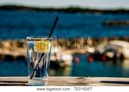 Drink With The Ocean In The Background