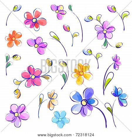 Set of isolated watercolor flowers
