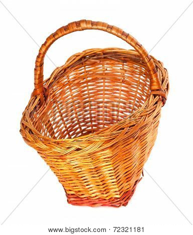 Empty Wicker Basket. Isolated On White Background.