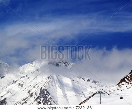 Winter Mountains And Sky In Mist