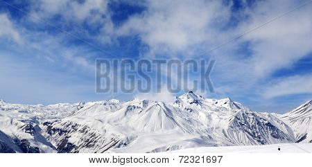 Winter Snowy Mountains At Wind Day