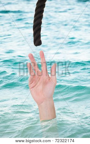 Drowning Man Reaching For Rope