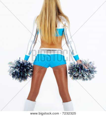 langes Haar Cheerleaderin mit Pom poms
