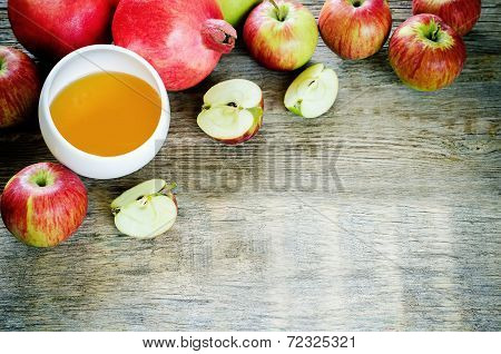 Apples, Honey And Pomegranates, Traditional Food For The Jewish New Year