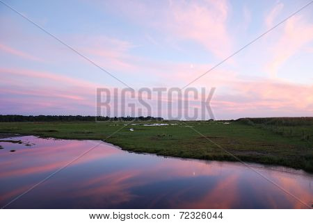 Beautiful Colors At Sunset By A Marshland