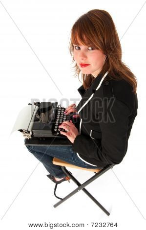 Funny Girl With Black Typewriter