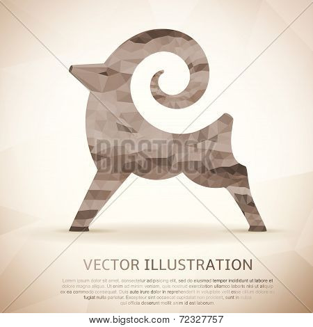 Geometric shape of the Goat. Vintage style.