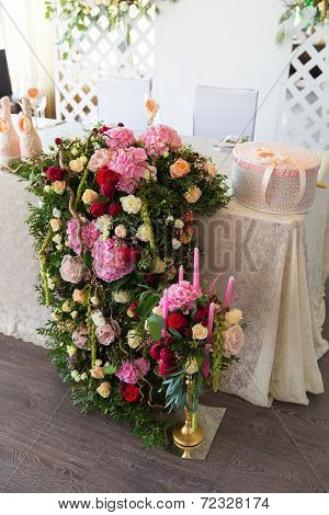 Floral Arrangement To Decorate The Wedding Feast, The Bride And Groom.