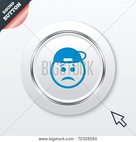 Sad rapper face sign icon. Sadness symbol.