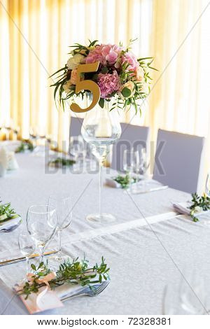 Floral Arrangement For Decoration Wedding Table For Guests. Room Table.