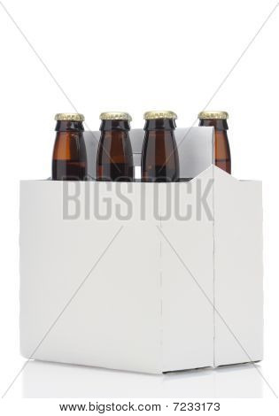 Six Pack Of Brown Beer Bottles