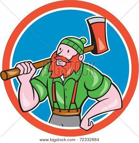 Lumberjack Circle Cartoon