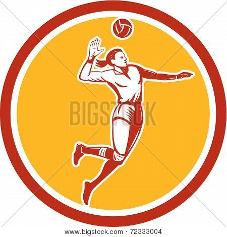 Volleyball Player Spiking Ball Circle Retro