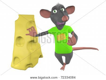 cartoon mouse leans against a piece of cheese