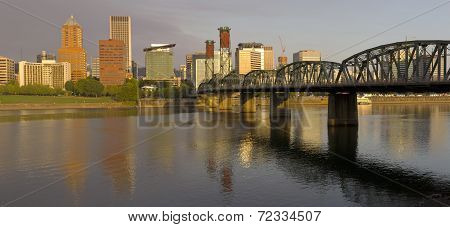 Portland Oregon Panorama In Morning Light.