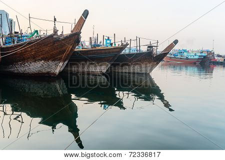 Traditional Arabic Dhows Wooden Boats