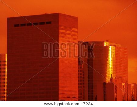Buildings At Sunset