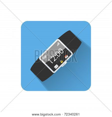 Flat Wearable Computer Wrist Band Icon. Vector Illustration