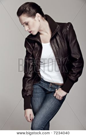Model In Leather Jacket
