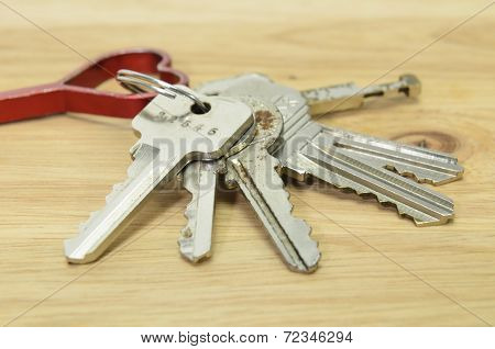Keychain On Wood Background