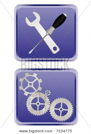 Illustration of detailed web buttons isolated on white background