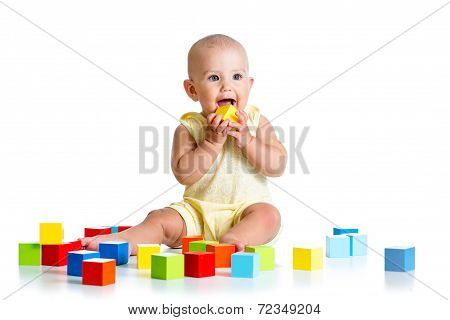 Child Playing With Block Toys