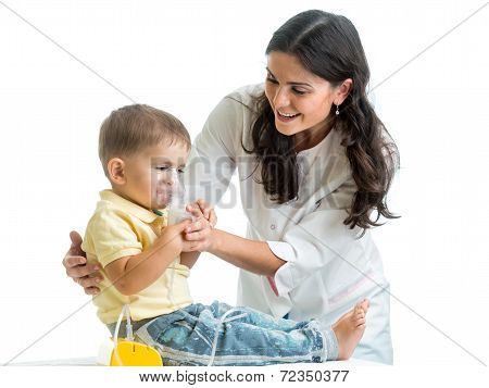 Doctor Holding Inhaler Mask For Child Breathing
