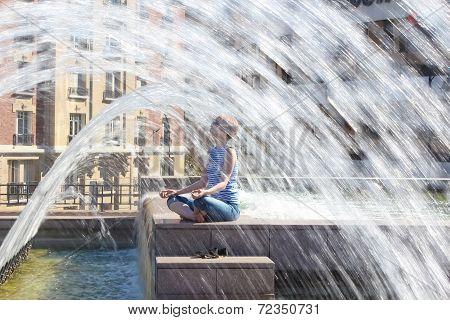Girl Relax At La Defense, Business District Of Paris