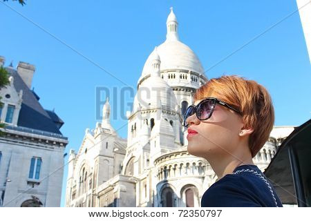 Beautiful Young Woman Of Sacre-coeur Basilica In The Montmartre