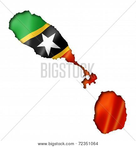 Saint Kitts And Nevis Flag Map