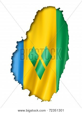 Saint Vincent And The Grenadines Flag Map