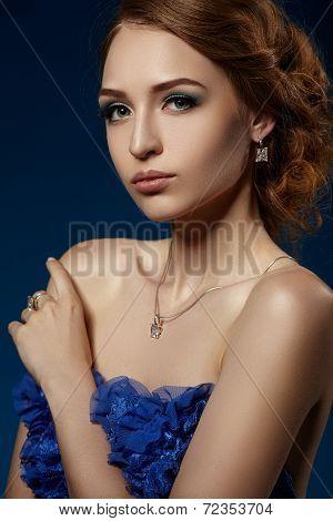 Beautiful Girl In A Blue Evening Dress