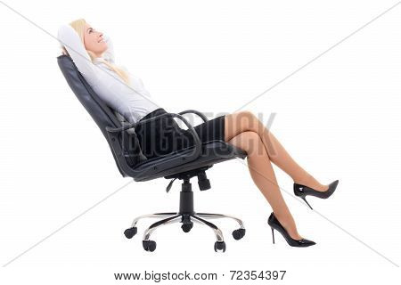 Happy Sexy Business Woman Sitting On Office Chair Isolated On White