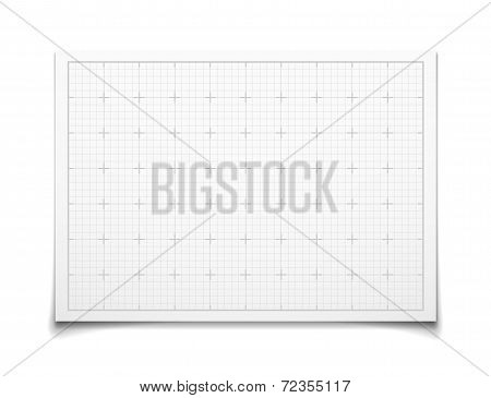 White isolated square grid with shadow