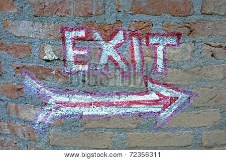 Hand painted exit sign