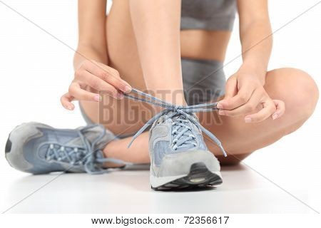 Runner Fitness Woman Tying The Shoelaces Ready To Sport