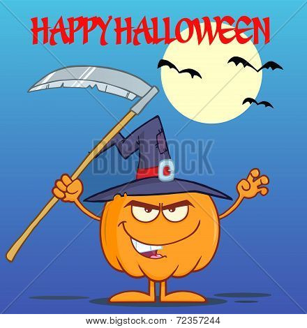 Scaring Halloween Pumpkin With A Witch Hat And Scythe Greeting Card