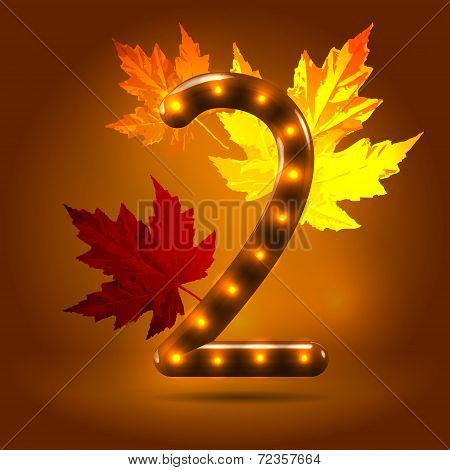 Glossy autumn abc numeral