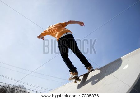 Skateboarder On A Ramp