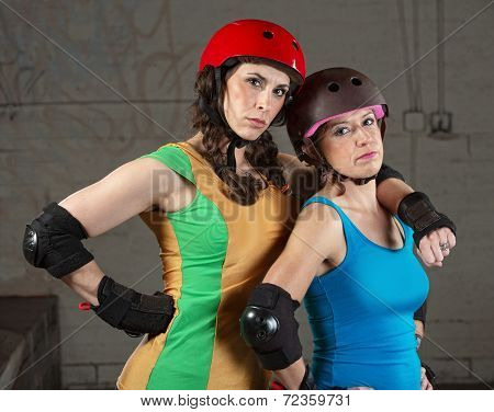 Confident Roller Derby Skating Partners