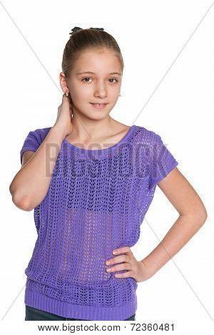 Pensive Preteen Girl Against The White