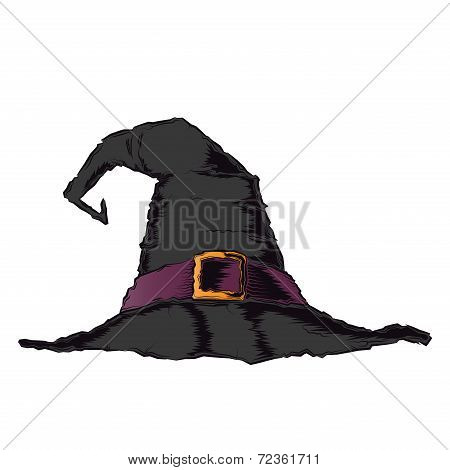 Black Creepy Witch Hat With Violet Belt Isolated On A White Background. Color Line Art. Halloween Re